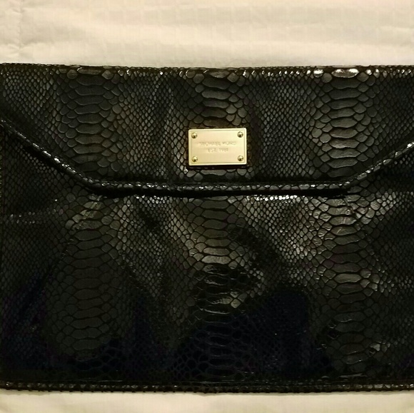 Michael Kors Handbags - MICHAEL KORS BLACK PYTHON EMBOSSED CLUTCH